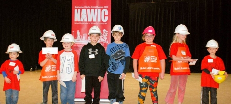 Winning Block Kids with prizes (child with the yellow hardhat is the overall winner